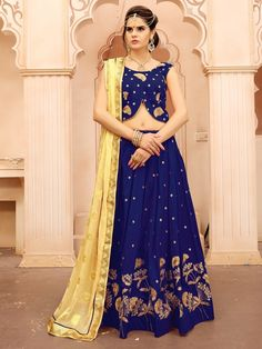 Buy party wear lehenga choli online for women. Grab this art silk embroidered, lace and resham work lehenga choli for mehndi and sangeet. Latest Bridal Lehenga, Bridal Lehenga Online, Lehenga Choli Online, Bridal Lehenga Choli, Blue Lehenga, Silk Lehenga, Patiala Salwar, Anarkali, Saree Draping Styles
