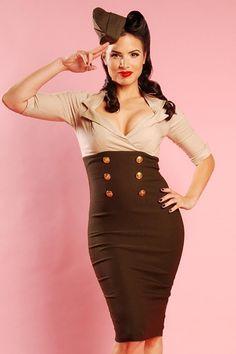 Bereits getragen von An Lemmens in der Fernsehsendung So You Think You Can Dance (sie trug dieses Kleid in blau-weiß). Das Military Secretary Kleid in Tan and Green der Marke Pinup Couture - Dies ist das perfekte 'Wiggle-Kleid' für den perfekten Pin up-Look. Inspiriert von den Pin Up-Modellen, die während des Zweiten Weltkrieges auf Flugzeugen gemalt wurden. Mit einem festen Top mit Dreiviertel-Ärmeln, tiefem(!) V-Ausschnitt, Wiggle-Rock...