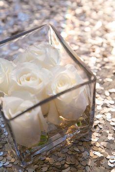 #Flowers #White #Roses #CenterPieces #FloralArrangement #ArrangementIdeas #WeddingIdeas #Simple #BlakeEntertainment