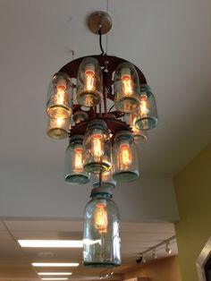 Vintage industrial 3 tier mason jar by OldeBrickLighting on Etsy, $695.00