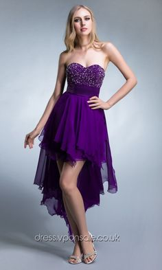 purple short bridesmaid dresses Purple Stunning Beaded High Low Prom Dresses DVP0020
