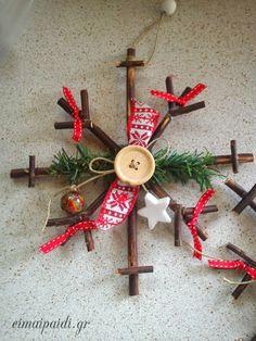 Ξύλινη χιονονιφάδα DIY Snow Flakes Diy, Wooden Snowflakes, Christmas Time, Christmas Ornaments, Crafts For Kids, Diy Crafts, Wood Slices, Winter Snow, Xmas Decorations