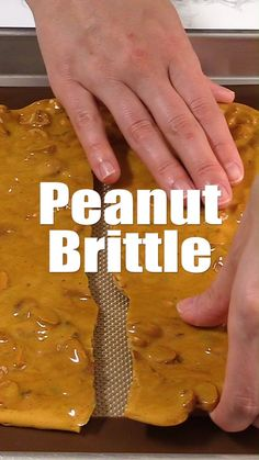 This classic peanut brittle is a fantastic edible gift idea! #bakedbyanintrovertrecipes #peanutbrittle #peanuts #candy #holiday #christmas