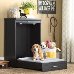 Archie & Oscar™ Archie Slide Aside Pet Crate & Reviews | Wayfair Animal Room, Elevated Dog Bed, Murphy Bed Plans, Murphy Beds, Dog Pillow Bed, Dog Rooms, Natural Area Rugs, Dog Crate, Pet Beds