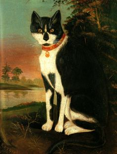 """""""Minnie from the Outskirts of the Village. Painted in 1876 by R.P.Thrall"""". Re-pinned this one from the """"Cat Museum.""""  What?!  A Cat Museum?!  We are so going there!!"""
