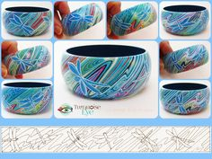 Custom painted wooden bangle, 2014. All designs Copyright Turquoise Eye. Commissions, please contact: facebook.com/TurquoiseEyeJoanne or e-mail:turquoiseeyejoanne@gmail.com