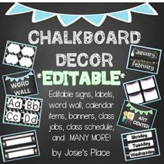 Set up your class with this Chalkboard Themed Set! This set includes coordinating dcor in pink, yellow, blue, green and purple. Many of the these files are EDITABLE!**If you have a suggestion for additional items for this set, let me know and I'll try to add it!**The following are all EDITABLE files:15 signs (5 polka dots, 5  with bunting, and 5 glitter border)11 sets of 4  labels or word wall cards (5 polka dots, 5 with bunting) 6 editable small signs to post