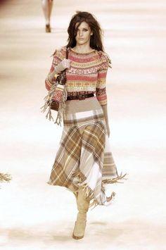 2005 ALEXANDER MCQUEEN runway fair isle sweater and tartan fringed skirt image 10