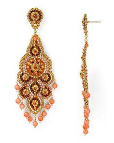 Miguel Ases Swarovski Pink Coral Chandelier Earrings | Bloomingdale's