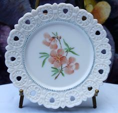 Decorative Plate. Milk Glass Plate with Hand Painted Cherry Flowers and Reticulated Rim. Display Plate or Serving Plate. by AnythingDiscovered on Etsy