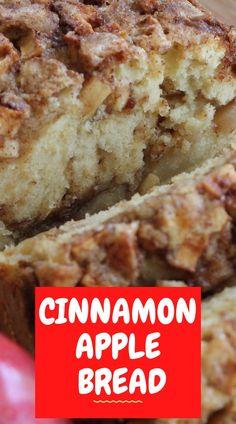 Apple Cinnamon Bread, Cinnamon Recipes, Easy Bread Recipes, Banana Bread Recipes, Cinnamon Apples, Baking Recipes, Apple Bread Recipe Healthy, Apple Walnut Bread Recipe, Best Recipes
