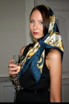 Navy border head scarf, tied classic under chin