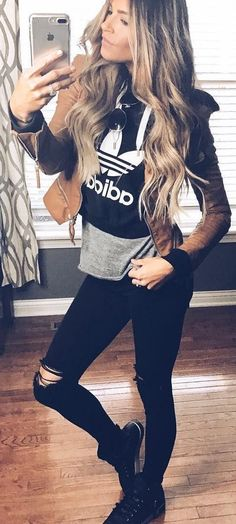 #winter #fashion /  Brown Jacket / Printed Black Knit / Ripped Skinny Jeans / Black Sneakers