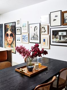 Interior Designer, Kerrie-Ann Jones' Home Has a Lot of Personality with Minimal Color black dining room table, cane chairs Black Dining Room Table, Dining Tables, Dining Room Feature Wall, Dining Room Art, Farm Tables, Wood Tables, Black Table, Rustic Table, Side Tables