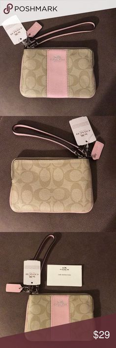 COACH WRISTLET BRAND NEW ~ AUTHENTIC PRODUCT   COACH WRISTLET   COLOR:  LIGHT KHAKI  WITH PINK ACCENTS  ZIP TOP WITH SMALL ID SIZE INNER POCKET  COACH CARE CARD INCLUDED Coach Bags Clutches & Wristlets