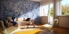marble living room by Roberto De Angelis, via Behance