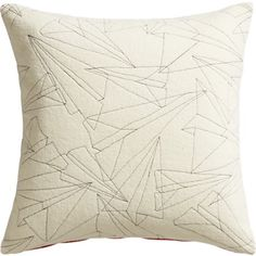 Wing it paper airplane embroidered pillow cb2