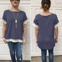 Striped short sleeve tops Navy & cream striped top with fringe trim at hem and sleeves. Please do not purchase this listing. Comment with size and I will create a new listing for you. Small (2/4) Medium (6/8) Large (10/12). Price is firm unless bundled. Tops