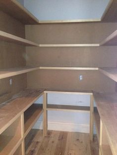 Update on my daughter & SIL's house! - All Things Heart and Home big walk in pantry (drawers on bottom & more space between cupboard & first shelf) - perfection Pantry Room, Pantry Closet, Walk In Pantry, Closet Drawers, Open Pantry, Organized Pantry, Pantry Shelving, Pantry Storage, Basement Storage