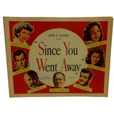 """A Vintage Movie Poster -- David O. Selznick Presents -- """"Since You Went Away"""" -- Starring -- Claudette Colbert And Shirley Temple -- -- Copyright 1956 -- Selznick Releasing Organization -- The Poster Is In Vintage Condition -- Good For Age Away Movie, Joseph Cotten, Claudette Colbert, Going Away, Pittsburgh Pa, Vintage Movies, Movie Posters, David, Temple"""