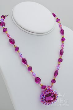 Val's favorite Swarovski Fuchsia Necklace , Jewelry | Eureka Crystal Beads