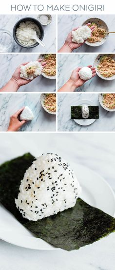 japanese food Homemade Spicy Tuna Onigiri - learn how to make homemade nigiri with this simple recipe! This spicy tuna onigiri version is filled with a simple filling of canned olive oil packed tuna, mayonnaise, sriracha, rice vinegar, and scallion. Easy Japanese Recipes, Japanese Dishes, Korean Recipes, Japanese Boy, Korean Food, Bento Recipes, Cooking Recipes, Spicy Food Recipes, Simple Food Recipes