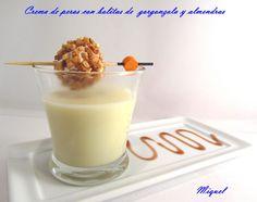 Les receptes del Miquel: Crema de pera con bolitas de gorgonzola y almendras