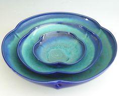 Nesting Bowl Set- Made to Order - Turquoise Cobalt Blue Ceramic Pottery - Set of 3