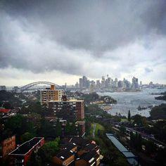 Sydney what are you playing at  #storm #weather #stormy #rain #hotthencold #sydney #sydneyharbour #sydneyharbourbridge #harbourbridge #cbd #operahouse #myhome #ocean #harbour #nsw #visitnsw #travel #british #britishweather #clouds #weatherreport #citylife #northshore #view #australia #westfieldtower #wetandwindy #blownaway by jaimelouise11 http://ift.tt/1NRMbNv