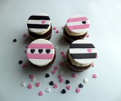 Stripes and Hearts Fondant Cupcake Toppers in Black, Wedding Cupcake Favors, Girl's Pink Birthday Cupcake toppers - Set of 12 by allsugarheart on Etsy