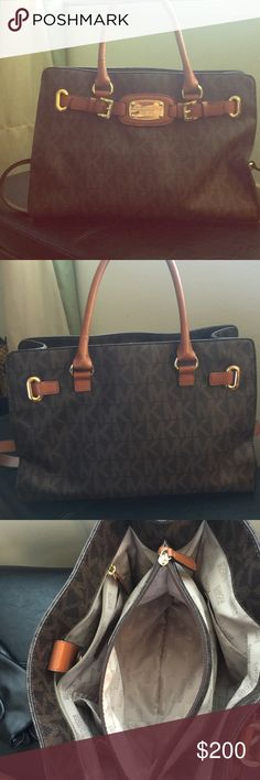 Michael Kors. Signature satchel MK signature satchel. Basically brand new. Only worn a couple of times. In impeccable condition.  Attached gold chain and leather shoulder strap. Dust bag included. Michael Kors Bags Satchels