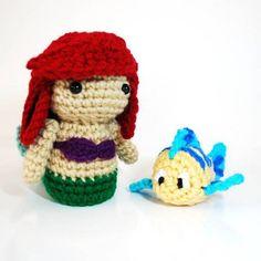 Ariel and Flounder amigurimi