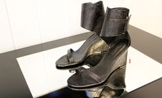 Karl by Karl Lagerfeld metallic woven wedges!