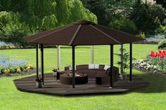 Enjoyable Gazebo Kits In The Garden Set In Pentagon Shape With Sectional Sofa And Table: Cool And Lovely Gazebo Kits Designs in Outdoor Living Space