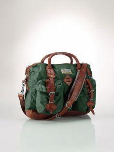 ade142b3a9de Leather-Trimmed Attaché Bag - Polo Ralph Lauren Messengers   Cross Body -  RalphLauren.com
