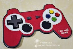 Playstation controller card by Jeanne - LOVE it! Birthday Cards For Brother, Birthday Cards For Boys, 9th Birthday, Boy Cards, Kids Cards, Origami Birthday Card, Shaped Cards, Creative Cards, Scrapbook Cards