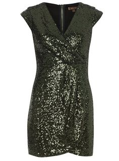 Jolie Moi Green Sequin Wrap Dress