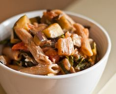 Eggplant, zucchini, kale, and tomatoes with whole wheat penne recipe.