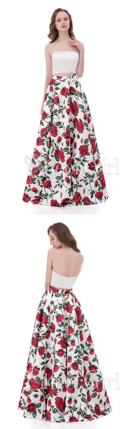 Cheap Floral Prom Dresses,Two Piece Prom Dresses,Simple Prom Dresses for Teens 2018,#sheergirl #florals