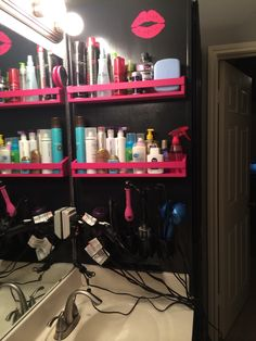 Hair tool and Hair Product Organization Pink Shelves