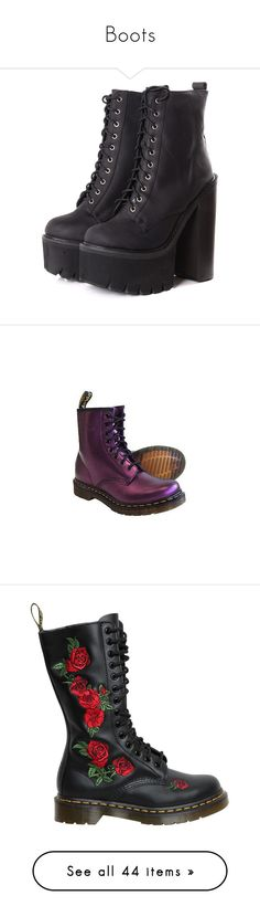 """""""Boots"""" by the3rdparty ❤ liked on Polyvore featuring shoes, boots, black, footwear, black laced shoes, laced boots, jeffrey campbell boots, black shoes, black side zip boots and rubber sole boots"""