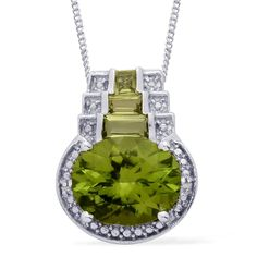 Liquidation Channel | Hebei Peridot and Diamond Pendant with Chain in Platinum Overlay Sterling Silver (Nickel Free)