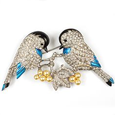 MB Boucher Pave and Metallic Enamel Lovebirds on Branches with Pearl Fruits Pin