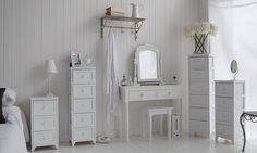 The Maine white bedside table with three darwers for every day storage . The White Lighthouse New England bedroom furniture Cottage Furniture, White Bedroom Furniture, Bedroom Decor, Bedroom Ideas, Small White Bedrooms, Small Room Bedroom, Small Rooms, Small Space, White Bedside Cabinets
