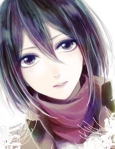 Anime, shingeki no kyojin, attack on titan, snk, art, girl, Mikasa ackerman, cute, kawaii
