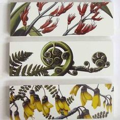 NZ Flora Art Blocks Great wall hangings for kitchen Window Photo Frame, Zealand Tattoo, School Murals, Maori Designs, New Zealand Art, Nz Art, Tile Crafts, Maori Art, Kiwiana