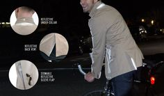 infographic explaining the different features of the Betabrand Mens Khaki Bike Commuter Reflective Blazer