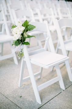 White wedding chairs: http://www.stylemepretty.com/2015/02/12/sophisticated-chicago-tavern-wedding/ | Photography: Jacqui Cole - http://jacquicole.com/