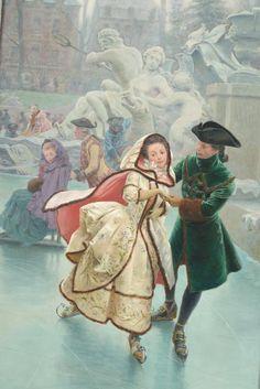 Maurice #Leloir (1853-1940) Les patineurs Huile sur toile signée en bas à gauche. 267 x 102 cm 15 000/20 000€ Détail. Provient du décor intitulé Les Quatre saisons au #Trianon au temps de Marie Antoinette. Vente le 4 mars 2015, salle 5, #Drouot Richelieu
