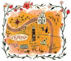 Illustrated Map of Verona for Jamie Oliver Magazine. By Becca Stadtlander Wedding Destination, Wedding Maps, Romeo Y Julieta, Travel Illustration, Wedding Illustration, Map Design, Travel Maps, Vintage Travel Posters, Travel Journals